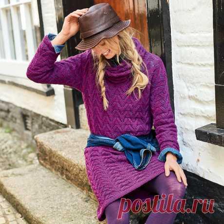 Ажурное платье со съемным воротником - схема вязания спицами. Вяжем Платья на Verena.ru
