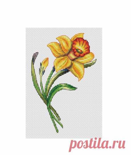 Narcissus Cross Stitch Pattern PDF Instant Download Flower | Etsy