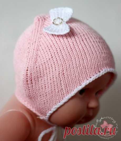 Чепчик для новорожденной малышки спицами. | Вяжем для самых маленьких! Дневник вязания Владимировой Татьяны.
