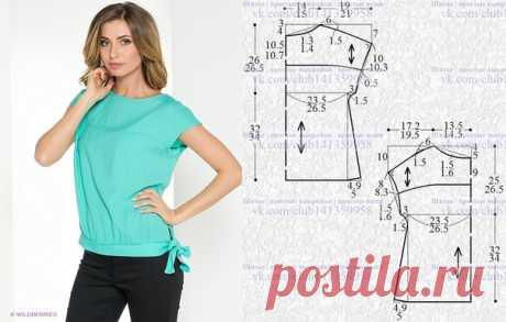 Блузка с короткими цельнокроеными рукавами, присборенная внизу на притачной пояс, выкройка на размеры 42/44 и 46/48 (рос.). #простыевыкройки #простыевещи #шитье #блузка #выкройка