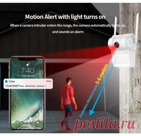 Внешняя камера видеонаблюдения, 1080P, Wi Fi, беспроводная, 48 Светодиодный светильник, ИК Аудио Видео, IP66, водонепроницаемый|Камеры видеонаблюдения| | АлиЭкспресс
