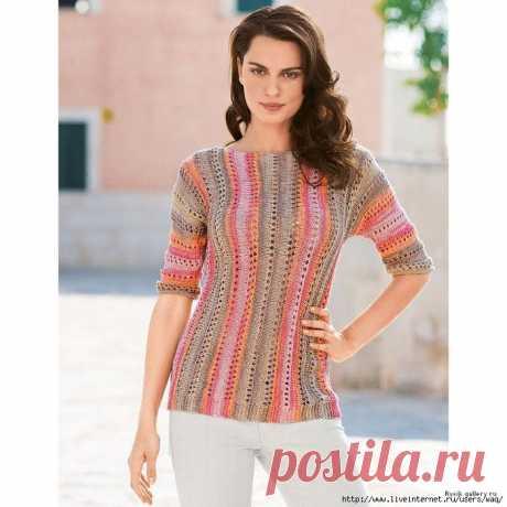 Мир хобби: Пуловер с поперечными полосами (вязание спицами)