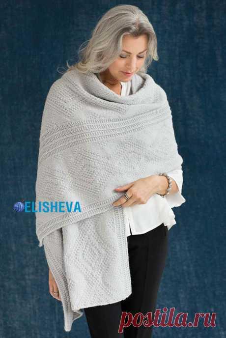 Палантин с узором «Диамант» от Vogue Knitting вязаный спицами | Блог elisheva.ru
