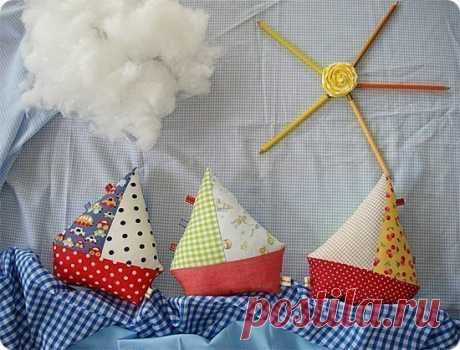 Кораблики из ткани. Подушка-игрушка.