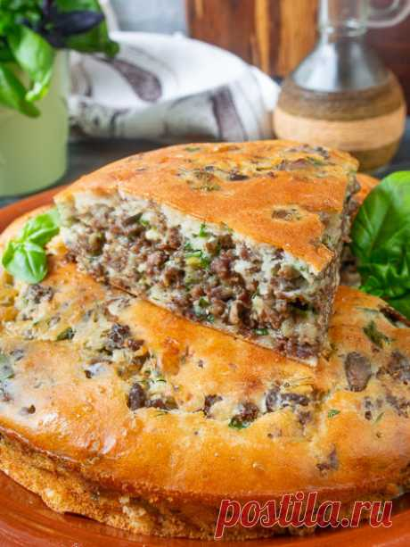 Рецепт заливного пирога с мясом и грибами на Вкусном Блоге