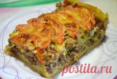 Лучшие кулинарные рецепты: Открытый мясной пирог из картофельного теста