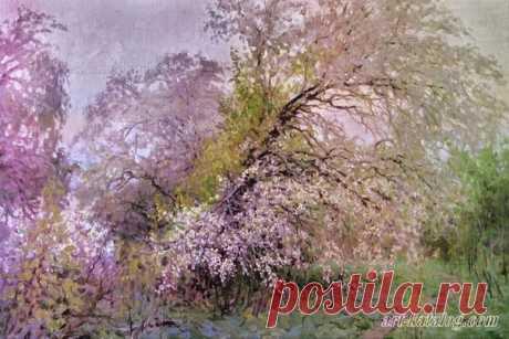 Когда в холодном небе цветы Напоминают падающий снег, Я сердцем чувствую Весны прикосновение.  ~ Отомо Якамоти #обитель_весна #обитель_сиреневое #обитель_природа