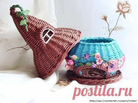 Плетение из газет Чайный домик
