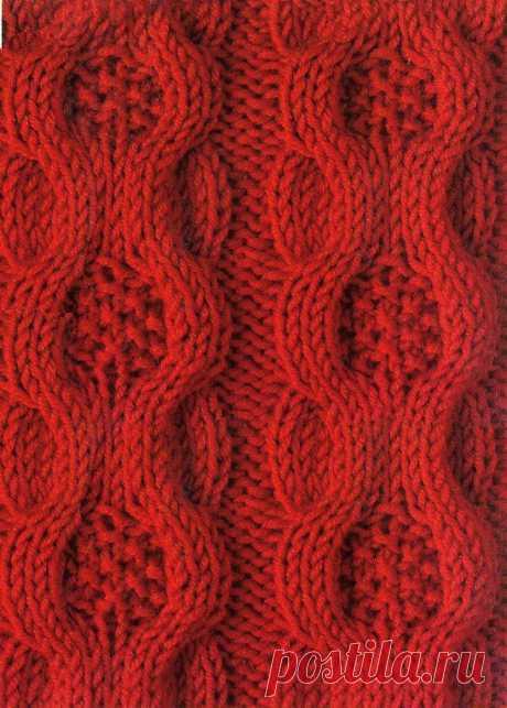 Красивый узор со сложными переплетениями элементов Красивый узор со сложными переплетениями элементовКрасивый узор со сложными переплетениями элементов предназначен для теплых вещей.Самое время начать вязать осенний кардиган.