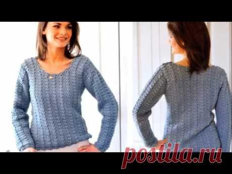 Очаровательно нежный пуловер крючком.Очень лёгкий узор  всего 2 ряда.