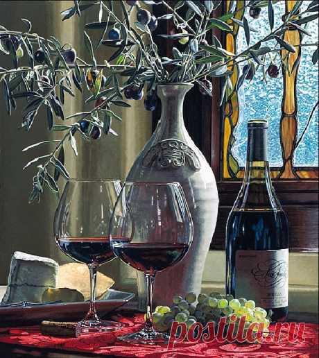 ✨Эрик Кристенсен - американский художник, непревзойденный мастер винного натюрморта.