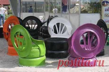 кресла из старых шин