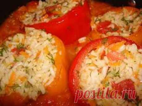 Перец фаршированный рисом и овощами - Кулинарные рецепты от Веселого Жирафа