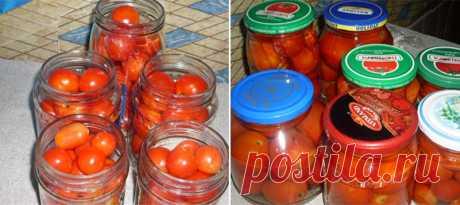 Очень сладкие маринованные помидоры на зиму в собственном соку — Готовим дома
