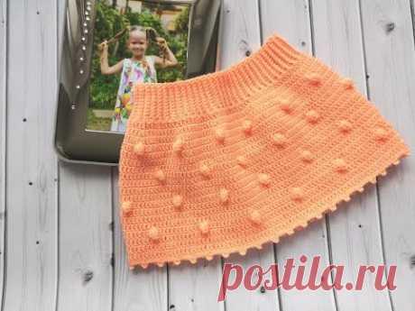"""Юбочка крючком узором """"Шишечки""""//crochet skirt pattern popcorn - YouTube"""