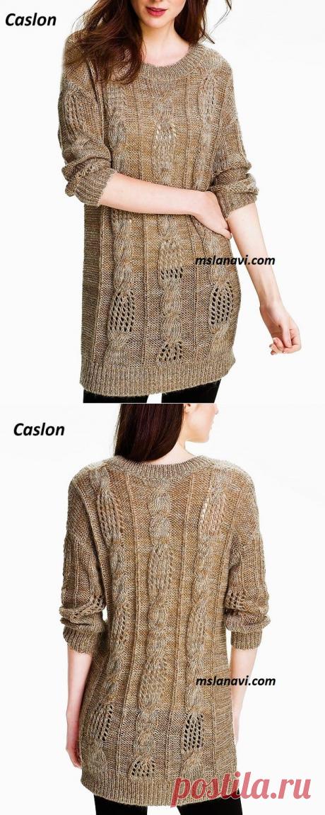 Длинный свитер спицами | Вяжем с Лана Ви