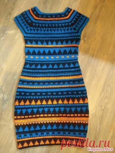 Платье крючком (жаккард треугольники) - Вязание - Страна Мам