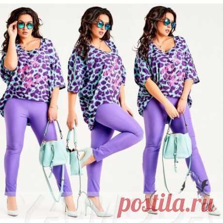 Костюм с леопардовой блузой размер плюс