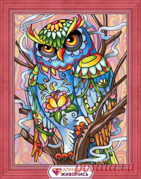 АЖ-1610 Красочный филин Алмазная Живопись