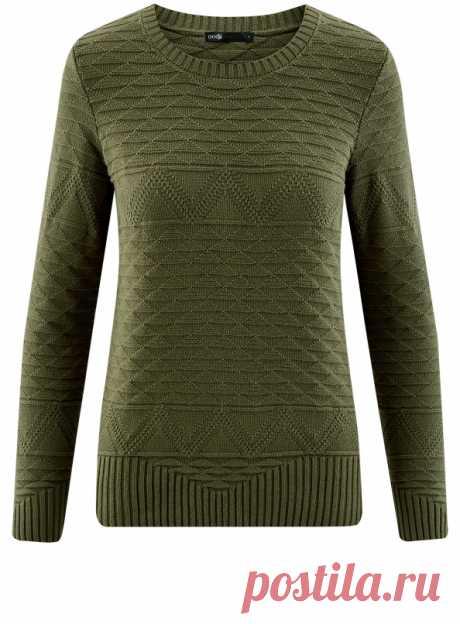 Джемпер с геометрическим узором и широкой резинкой (темный хаки без принта) - купить недорого в интернет-магазине женской одежды oodji