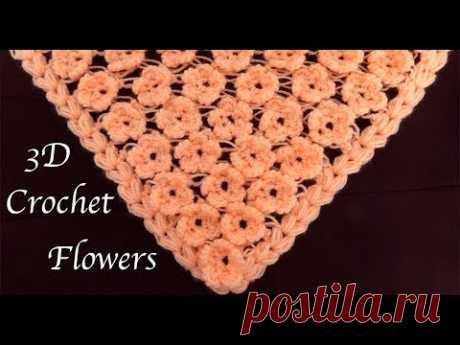 Como tejer con Gancho crochet punto de flores 3D para bufandas capas ponchos tejido tallermanualperu