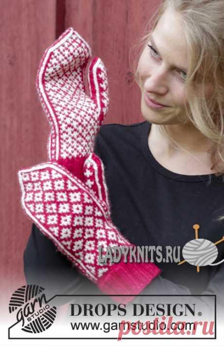 Knitted spokes women's fair isle mittens