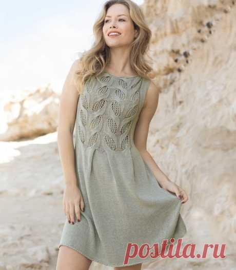 Платье спицами с ажуром и косами #knitting #вязание_спицами #платья_спицами