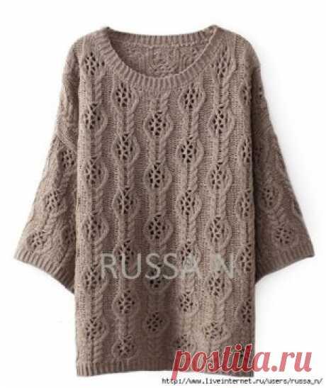 Пуловер-туника с ажурным узором спицами. Схемы вязания