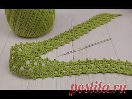 ЛЕНТОЧНОЕ КРУЖЕВО простое и легкое вязание крючком для начинающих  Simple crochet ribbon lace