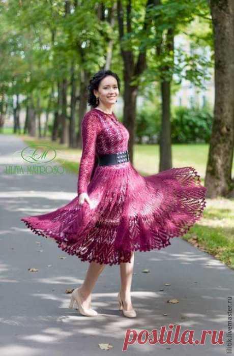 Шикарное платье (крючок, мохер+шёлк). Автор и исполнитель Лилита Матросова