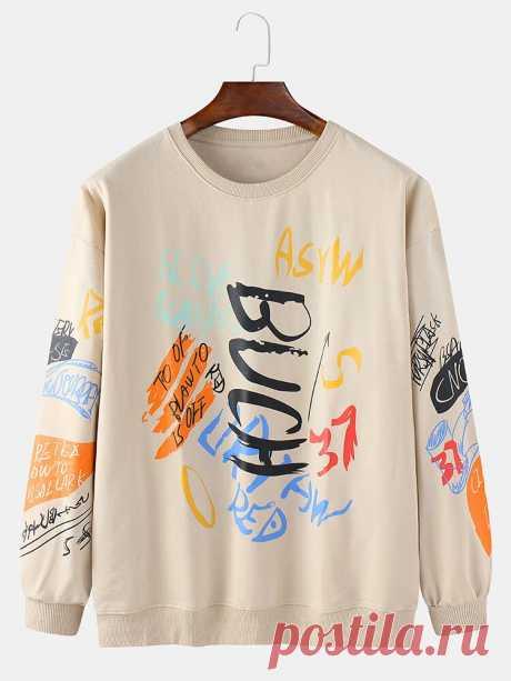 Mens Graffiti Print Long Sleeve Pullover Cotton Casual Sweatshirts - US$27.99