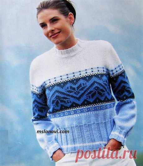 Короткий жаккардовый свитер | Вяжем с Лана Ви