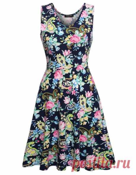 Женщины случайный Fit и цветочные рукавов платье сарафан – купить по низким ценам в интернет-магазине Joom