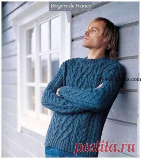 Теплый мужской свитер с аранами.Схемы,выкройки https://ya-hozyaika.com/vyazanie-spitsami/dzhempera-pulovery/muzhskoj-sviter-blencathra-spitsami/
