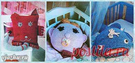 Подушки на диван - кот, кит и малыш (вязание крючком)