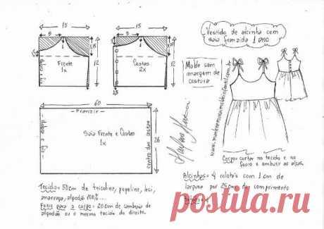 Сарафан платье для девочки  Размеры выкройки: 1-14 лет