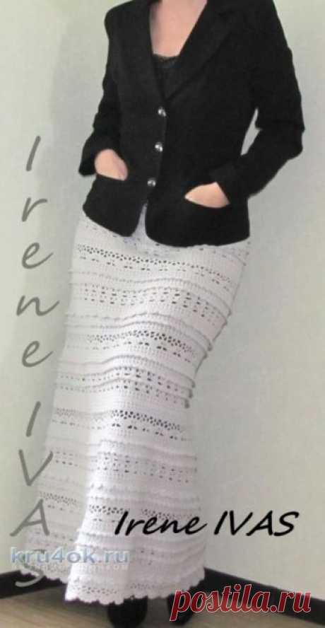 """Юбка длинная крючком по мотивам юбки Пагода. Работа Irene IVAS Здравствуйте девочки!!! Связалась у меня длинная юбка по мотивам известной юбки """"Пагода"""". Он-лайн был здесь. Для данной модели я использовала пряжу MILOS 709"""