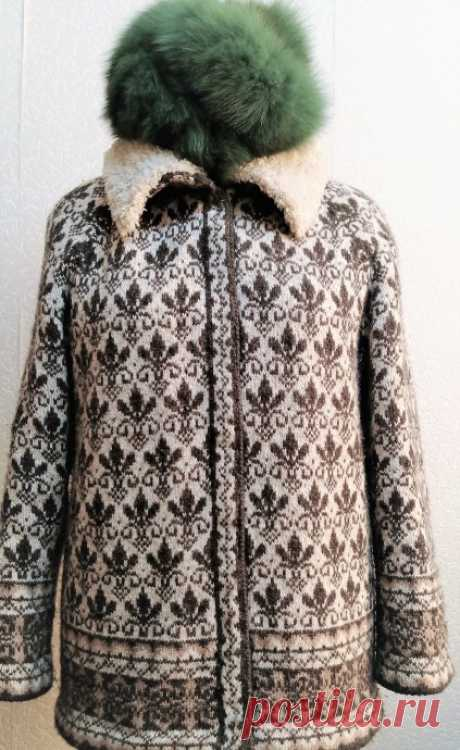 Жаккардовый кардиган плавно превращается.... в зимнюю куртку из категории Мои работы – Вязаные идеи, идеи для вязания