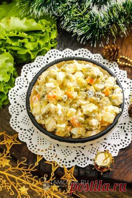 «Оливье» с курицей и соленым огурцом — рецепт с фото пошагово