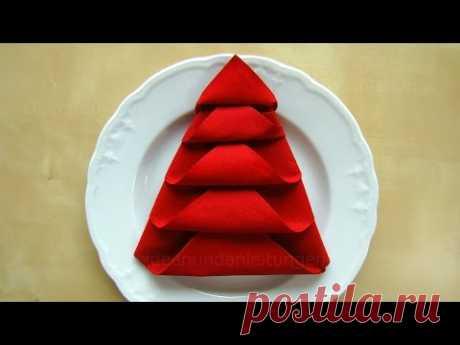 ¡Como poner las servilletas para la mesa De Año Nuevo! - DIY - el abeto de las servilletas para adornamiento de la mesa