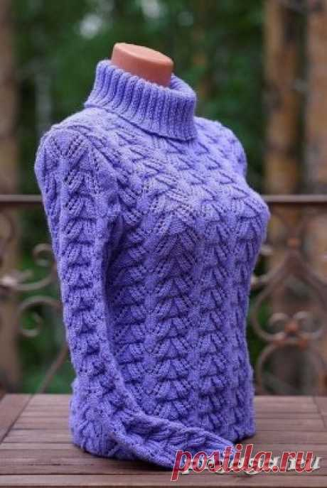 Красивый пуловер спицами Схема: https://prjaga.ru/uzory-vyazaniya/spicami/krasivyj-uzor-spicami