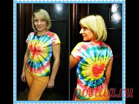 La camiseta en la técnica shibori, uzelkovyy el batik. (El maestro - la clase)\/t-shirt in equipment - a nodular batic\/