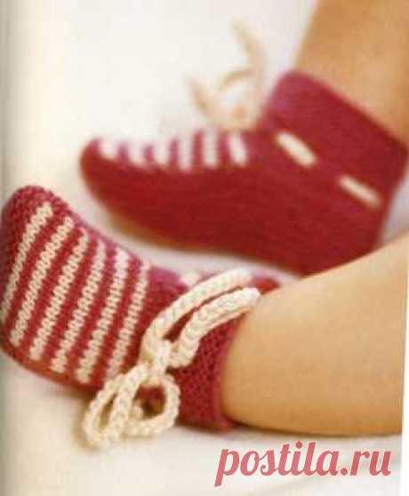 Пинетки вязаные спицами | Вязание спицами, крючком, уроки вязания