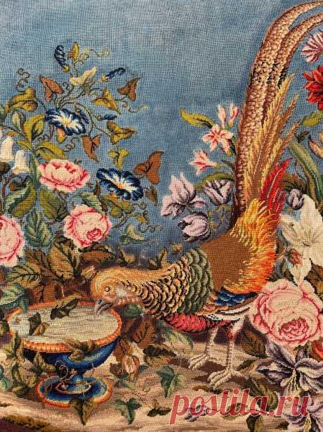Викторианская панель Needlepoint с фазаном Античный текстиль | Etsy