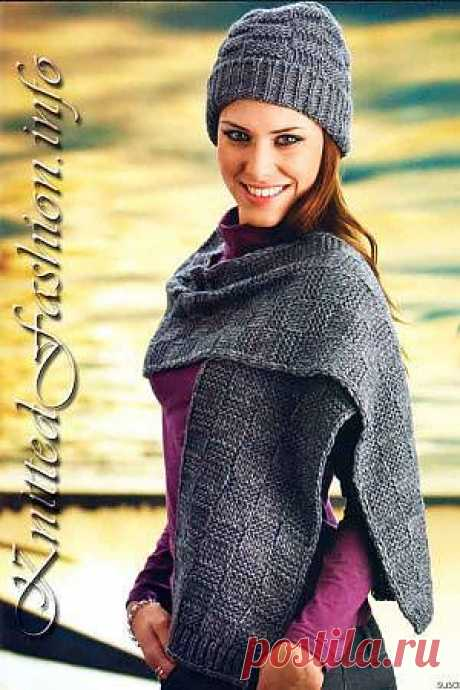 """Hat and scarf in """"шашку"""" - KnittedFashion.info"""