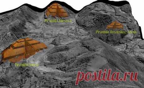 """Пирамида Солнца и предполагаемое расположение других пирамид вокруг города Високо.По соседству находятся еще несколько пирамидальных холмов (окрещенных """"пирамида Луны"""", """"пирамида Дракона""""). Естественно, все эти постройки сразу же стали ассоциироваться с Атлантидой, Лемурией, континентом Му и другими легендарными культурами."""