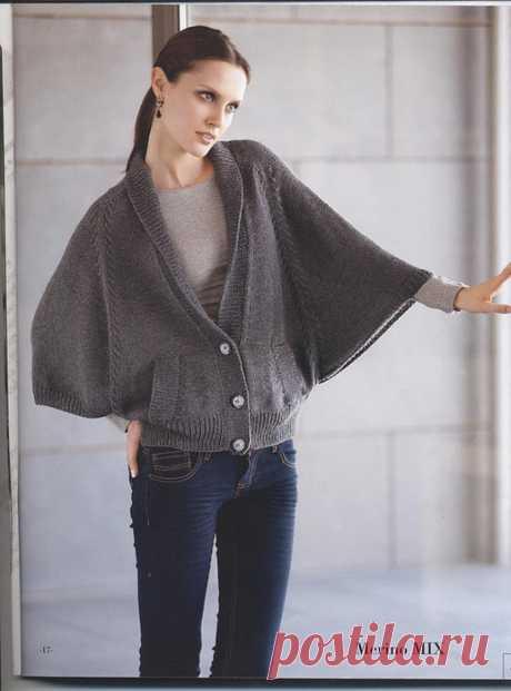 Вязание спицами для женщин Жакет-пончо