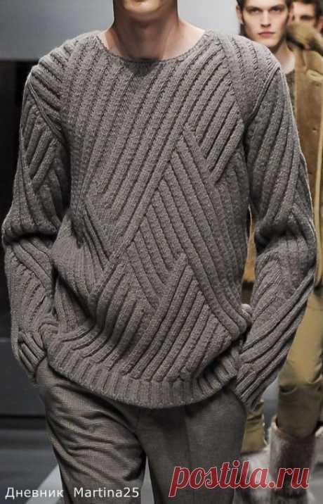 Мужской пуловер со строгим, красивым и несложным рисунком. Просто такой рисунок потребует чуть больше внимания.
