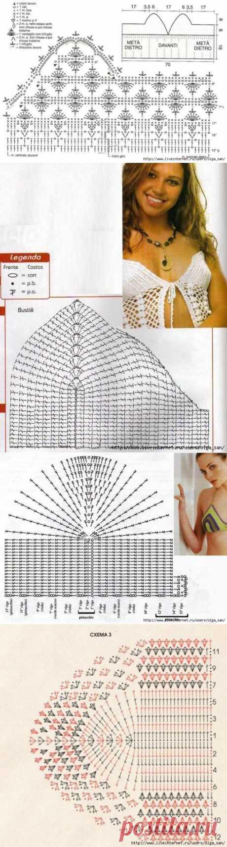 Схемы вязания лифа крючком.
