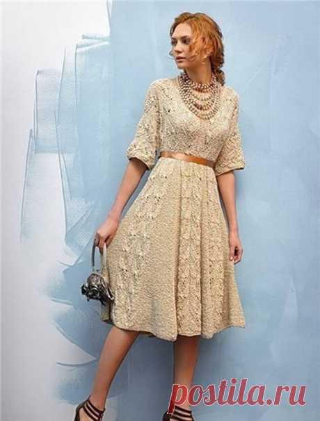 Платье в винтажном стиле спицами – схема и описание